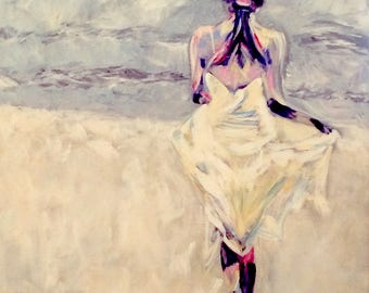 BEACH, Limited Edition print from original acrylic painting by Joan McEwan