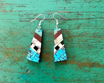 """Native American mosaic inlay dangle earrings turquoise silver jet mother-of-pearl pipestone Santo Domingo Pueblo New Mexico drop 2.5"""""""