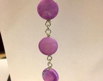 Purple Shell Cascade Earrings