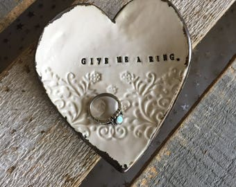 New! - Give me a ring heart ring dish
