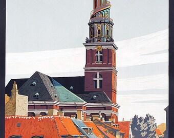 Denmark Beluchen Danemark European Travel Tourism Vintage Poster Repro FREE SHIPPING