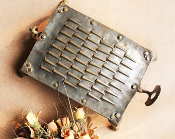 Hand Crafted Brass Vegetable Grater and Coconut Scraper - L 29 cm x W 18 cm X H 5 cm, Vintage Veggie Grater, Kitchen Accessory, itchen Decor