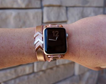 Rose Gold Double Wrap Shimmer Leather Apple Watch Band Strap for iWatch, Adapter 38mm/42mm, with Silver Accents