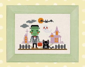 Frankenstein goes trick-or-treating Cross Stitch Pattern, Cute Modern Simple Halloween Cross Stitch Pattern, PDF Instant Download