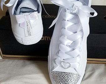 Bridal Converse, Crystals Bling, All White, Rhinestone Heart, Satin Laces, No Stripes, Toes and Back