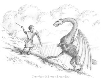 Fighting Dragons - Boy's Room Art Print - Gifts for Boys