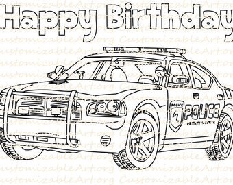 Police Birthday Party Favor Printable Police Car Coloring Page Sheet Cop Car Law Enforcement Drawing Party Printables Supplies Colouring PDF