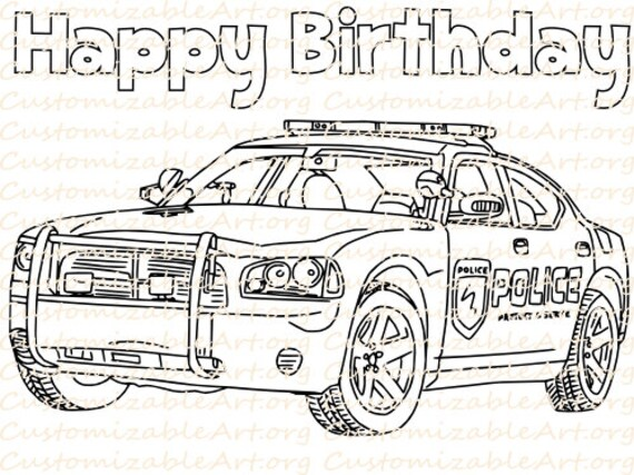 Police Birthday Party Favor Printable Police Car Coloring Page