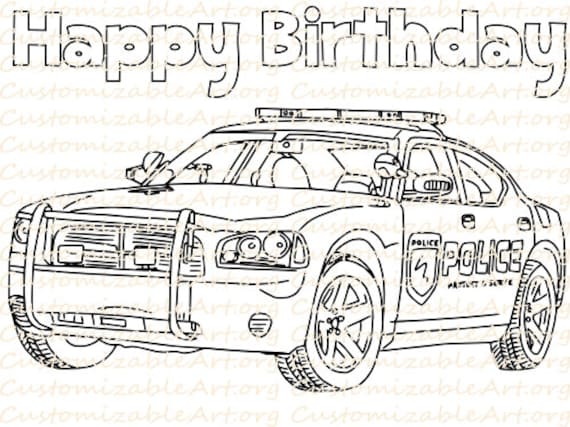 Police birthday party favor printable police car coloring page for Police car coloring pages to print