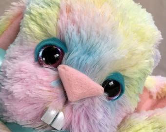 SALE! marked extra 15% OFF! Puff Bunny Artist plush pastel rainbow bunny rabbit doll fluffy floppy fur by Karen Knapp of Tindle Bears