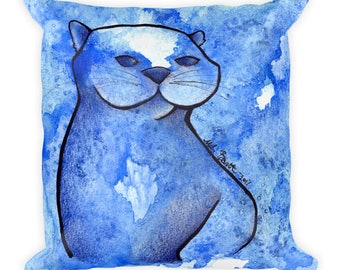 Otter Galaxy Watercolor - Square Pillow