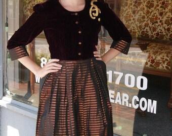 Vintage 40's 50's Pin Up Atomic Rockabilly Metallic Striped Dress - Size XS