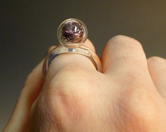 One Blown Bubble with Purple Feathers Glass Ring Hand Sculpted by Jenn Goodale