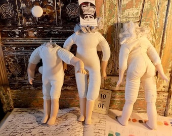 DOLLS CREEPY CRAFTING 3 Headless Dollys dolly bodies Lot no.10 of lovely dolls altered art found objects voodoo dolls Make Art Create studio