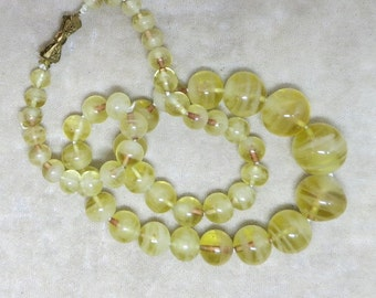Cloudy Yellow Glass Beaded Vintage Necklace