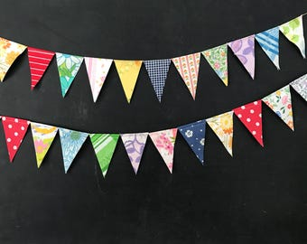 Mini Bunting Garland - Colorful Flag Banner - Birthday Party Decoration - Pennant Flag Banner - Fabric Bunting - Fabric Flag Garland
