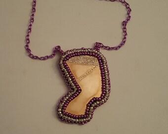 Nefretiti seedbead necklace, seedbead jewelry, beaded jewelry