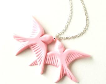 Blush pink vintage plastic swallow love birds silver necklace