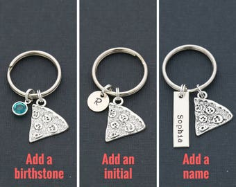 Pizza Keychain • Friend Gift • Friendship Keychain • Best Friends Gift • Silver Pizza Slice Jewelry  • BFF Gift • Family Reunion Gift Idea