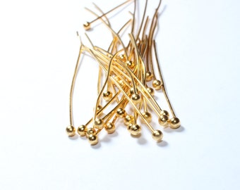 300 Pcs 35mm 24k Shiny Gold Ball Head Pin , Bead Head Pin Findings , Needle , DOM19