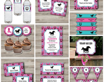 Horse Party Kit With Invitation and Party Decor, Printable Editable Horse Birthday Party Kit, Printable Editable Horse Party Kit