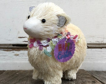AGD Easter Decor - Adorable Sisal Sheep Happy Easter Lamb