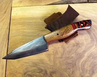 Paring Knife with composite scales, made from a recycled Buzzsaw
