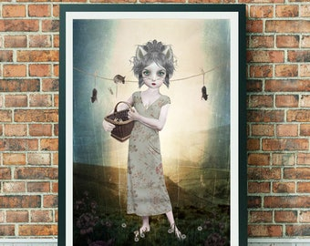 Anthro Art Print | Cat Girl & Mice | Lowbrow Art | A3 Art Print | Hung Out To Dry