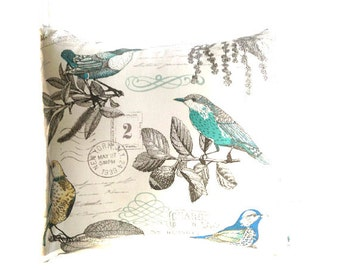 Pillow Covers - Home Decor - Bird Pillow Cover/Blue Cushion Covers/Throw Pillow Covers/Summer Pillow/Blue Bird/Yellow Bird/Aqua/Word Pillow