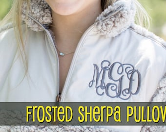 SALE!!!! SHERPA PULLOVER: Monogrammed Sherpa 1/4 zip Pullover - Greek, Sorority, College, Gifts, Bridesmaids, Fall, winter, cozy, pull