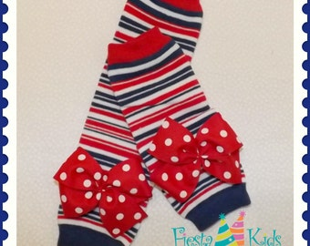 Red white and blue, baby leg warmers, newborn leg warmers, nautical theme, patriotic theme, newborn girl leggings