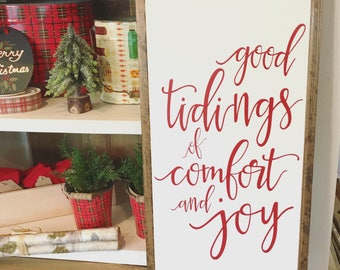 Good Tidings of Comfort and Joy | Christmas Sign | Red Christmas Decor | Christmas Porch | Framed Wood Sign | 13 x 26