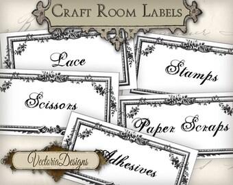 Craft Room Organization Labels Craft Room Labels printable instant download digital collage sheet VD0405