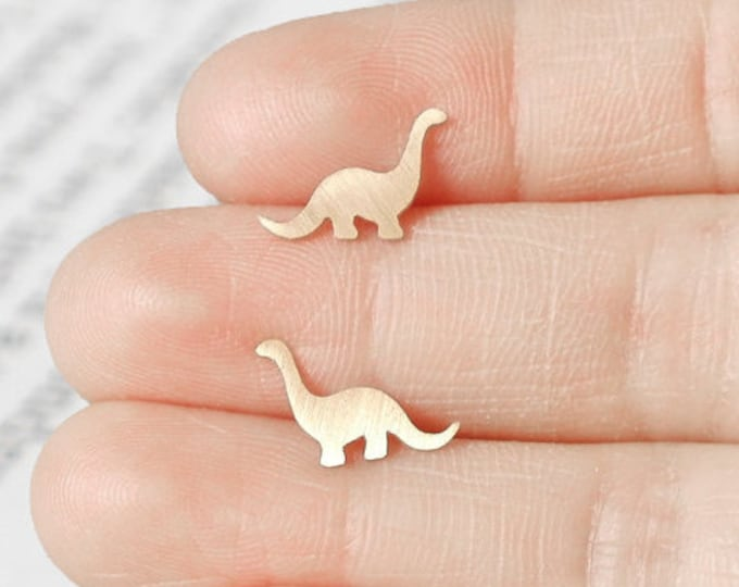 Dinosaur Earring Studs In 9ct Yellow Gold, Brontosaurus Earring Studs, Handmade In The UK