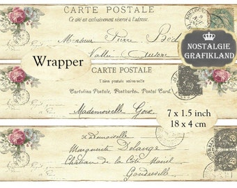 Postcards Carte Postale Wrapper Shabby Chic Ephemera Wrapper Instant Download digital collage sheet E199