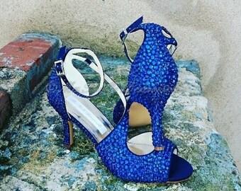 Blue Crystal, Rhinestone Shoes, Pumps, Heels