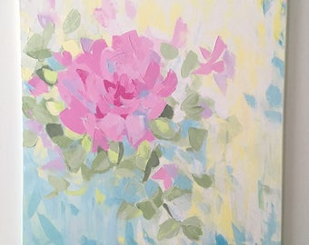 "Original Acrylic Abstract Floral Painting on Canvas, Pink, Blue, Yellow, 24""x24"" Impasto Painting, Floral Wall Art, Abstract Rose Painting"