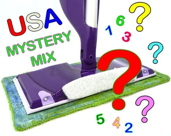 1 to 8 USA Mystery Pack of Reusable Hook & Loop Pads for Swiffer WetJet type mops. Loop side and Sticks to the mop bottom of the pad.