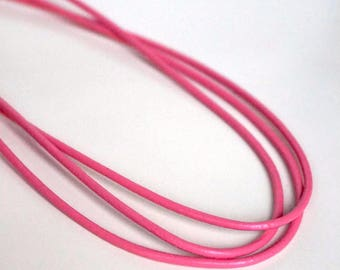 Round pink leather cord, 2mm