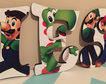Custom Decorated Wooden Letters - Super Mario Brothers