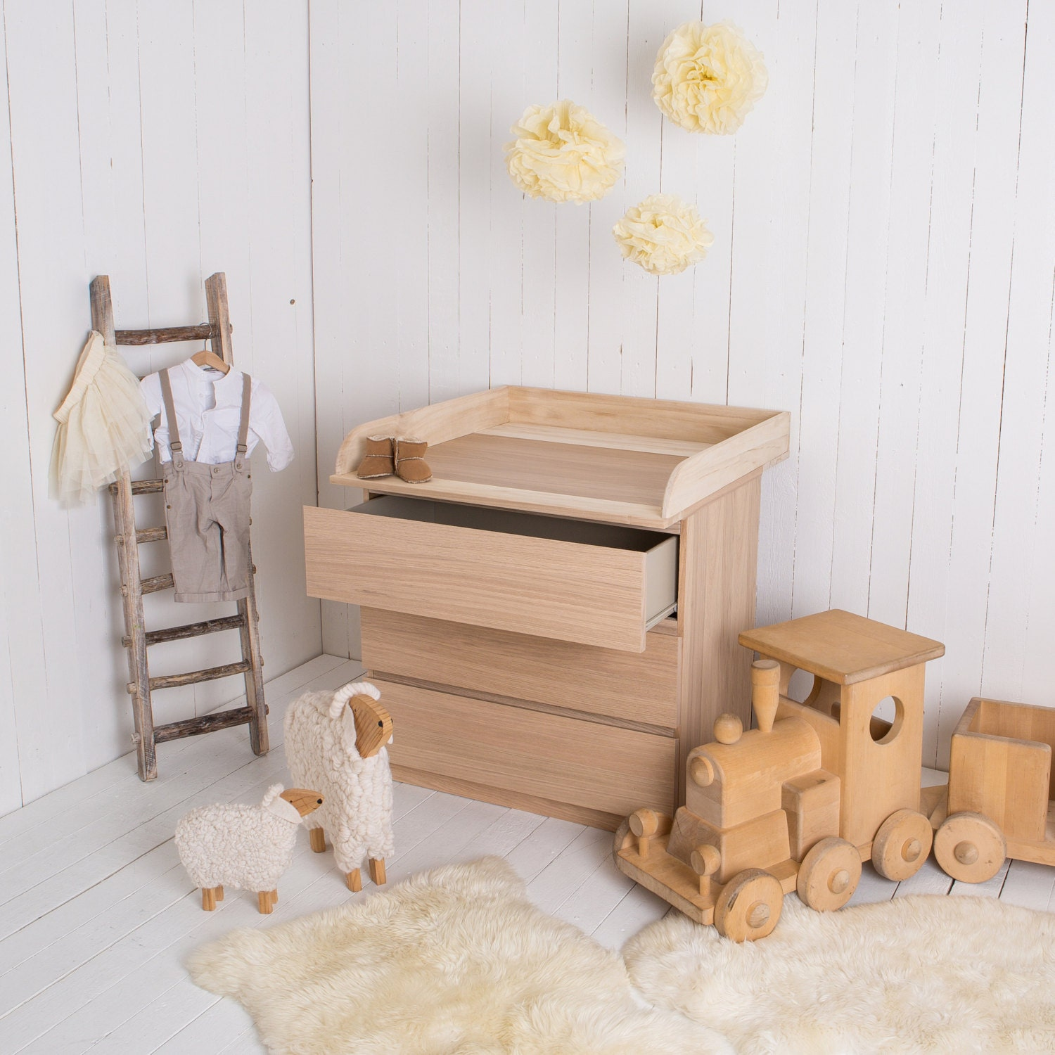 NEW Natural wood Changing unit table top Cot Top for IKEA