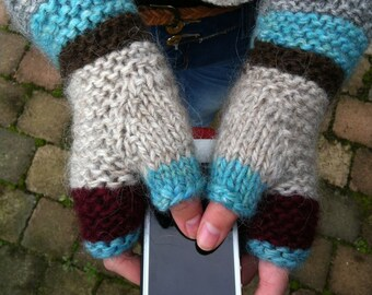 Knitting PATTERN Fingerless Mittens - Hipster Mittens - Mittens - Mittens without Fingers Pattern - Knitting in the round Pattern