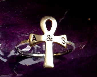 Ankh Silver Bronze Ring/Personalized Ring/ Custom Stamped Initial Ring