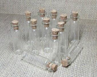 Miniature bottles & corks glass vials DIY mini wish jars 2.3ml empty 12pcs clear narrow skinny 40mm x 12mm small charm pendant potion kawaii