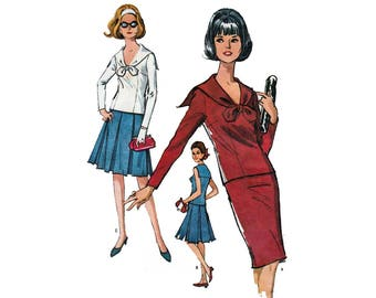 Women's 2 Piece Dress, Slim or Pleated Skirt, Sailor Blouse, Sewing Pattern Misses Size 14-16 Bust 34-36 UNCUT Vintage 1960's McCall's 7490