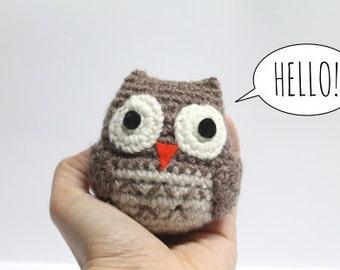 Super Soft Amigurumi Owl Crochet Toy Blue Pink Beige Light Brown Dark Grey