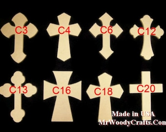 """5  6"""" x 9"""" x 1/2"""" Thick Wooden Crosses ready for painting, made in USA, ships in less than 5 business days, 060950-5"""