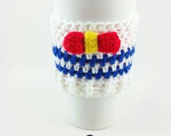 Nautic Sailor Coffee Cozy- Coffee Sleeve-Crochet Nautic Sailor -Kawaii-Anime-Coffee Cozy-Geek-Nautic-Co Worker Gift-Coffee Cup Covers