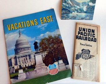 Lot of 3 Pieces Vintage Union Pacific Railroad Ephemera 1930s-1940s- Vacations East Travel Idea Book - Lithograph Postcard - 1939 Time Table