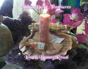 Self Love Meditation ~ Venus Vision Oil & Candle Love Kit ~ Yoga Love Set ~ Organic Herbal Loaded Candle ~ Rose Quartz Gemstones ~ Gift Box